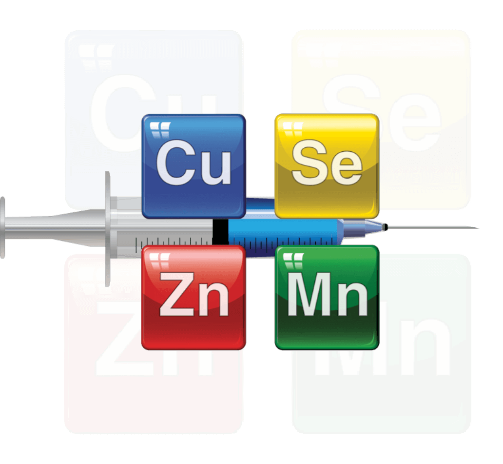Cu Se Zn Mn elements in front of a syringe